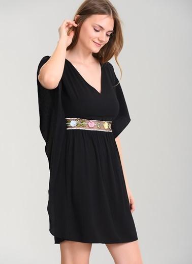 Agenda Volanlı Elbise Siyah